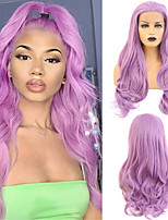 cheap -Synthetic Lace Front Wig Wavy Free Part Lace Front Wig Long Purple Synthetic Hair 18-26 inch Women's Cosplay Soft Adjustable Purple