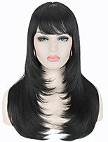 cheap -Synthetic Wig Body Wave Asymmetrical Wig Medium Length Black#1B Synthetic Hair 24 inch Women's Party Black
