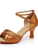 cheap -Women's Latin Shoes Satin Heel Cuban Heel Customizable Dance Shoes Brown