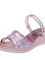 cheap -Women's Sandals Wedge Sandals 2020 Spring &  Fall / Spring & Summer Wedge Heel Open Toe Classic Basic Daily Party & Evening PU Pink / Gold / Silver