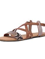 cheap -Women's Sandals Flat Sandals 2020 Summer Flat Heel Open Toe Casual Daily Beach Buckle Color Block Snake PU Black / Brown / Animal Print