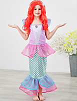 cheap -The Little Mermaid Princess Dress Flower Girl Dress Girls' Movie Cosplay A-Line Slip Purple / Light Purple / Green Dress Children's Day Masquerade Satin / Tulle