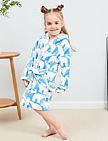 cheap -Kid's Kigurumi Pajamas Bathrobe Oodie Rabbit Bunny Onesie Pajamas Flannel Fabric Yellow / Pink / Light Blue Cosplay For Boys and Girls Animal Sleepwear Cartoon Festival / Holiday Costumes / Bath Robe