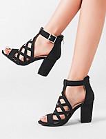 cheap -Women's Sandals Summer Block Heel Peep Toe Daily PU Brown / Black / Gray