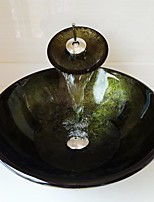 cheap -Round Green Foil Tempered Glass Vessel Sink with Waterfall Faucet Pop - Up Drain and Mounting Ring