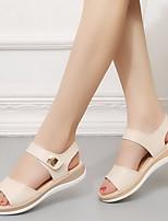 cheap -Women's Sandals Flat Sandal Summer Flat Heel Open Toe Daily PU White / Blue / Beige