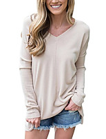 cheap -Women's T-shirt Solid Colored Tops V Neck Loose Basic Daily Spring Fall Black Army Green Beige S M L XL 2XL 3XL