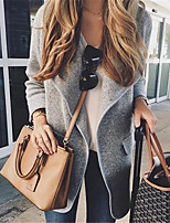 cheap -Women's Coat Daily Basic Regular Solid Colored Black / Blushing Pink / Khaki S / M / L