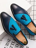 Недорогие -Муж. Лето Английский на открытом воздухе Туфли на шнуровке Полиуретан Нескользкий Черный / Синий