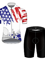 cheap -21Grams Men's Short Sleeve Cycling Jersey with Shorts Polyester Black / White American / USA National Flag Bike Clothing Suit Breathable Quick Dry Ultraviolet Resistant Reflective Strips Sweat-wicking
