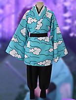 Недорогие -Вдохновлен Убийца Демонов: Кимэцу но Яиба Урокодаки Саконджи Аниме Косплэй костюмы Японский Косплей Костюмы Кофты Брюки кимоно Пальто Назначение Муж. / Пояс на талию