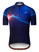 cheap -Miloto Men's Short Sleeve Cycling Jersey Black / Blue Bike Jersey Top Mountain Bike MTB Road Bike Cycling Breathable Quick Dry Sports Clothing Apparel / Stretchy