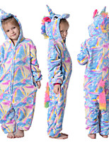 cheap -Kid's Kigurumi Pajamas Unicorn Flying Horse Onesie Pajamas Flannelette Blue Cosplay For Boys and Girls Animal Sleepwear Cartoon Festival / Holiday Costumes