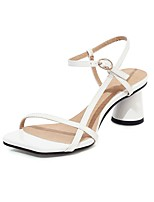 cheap -Women's Sandals 2020 Summer Cuban Heel Open Toe Preppy Minimalism Party & Evening Office & Career Buckle Plaid / Check PU White / Black / Pink