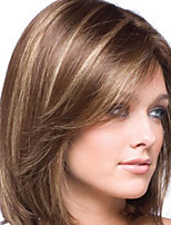 cheap -Synthetic Wig kinky Straight Middle Part Wig Short Light Brown Synthetic Hair 8 inch Women's Easy dressing Highlighted / Balayage Hair Exquisite Brown