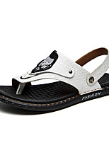 cheap -Men's Summer Casual Daily Sandals Walking Shoes Nappa Leather Breathable White / Black