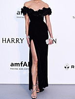 cheap -Mermaid / Trumpet Celebrity Style Sexy Engagement Prom Dress Off Shoulder Sleeveless Floor Length Spandex with Split 2020