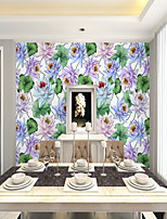 cheap -Art Deco  Custom Self-Adhesive Mural Wallpaper Lotus Flower Is Suitable For Bedroom Living Room Coffee Shop Restaurant And Hotel Wall Decoration Art