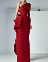 cheap -Sheath / Column Elegant Red Engagement Formal Evening Dress One Shoulder Sleeveless Floor Length Satin with Bow(s) Ruched 2020