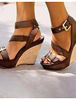 cheap -Women's Sandals Wedge Sandals Summer Wedge Heel Open Toe Daily PU Black / Brown