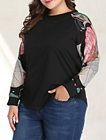 Недорогие -Жен. Большие размеры Цветочный принт С принтом Блуза Классический Элегантный стиль Повседневные На выход Черный