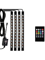 cheap -ZDM 4 pcs 9Inches Car LED Strip Lights 72 LED Multicolor Music Car Interior Atmosphere Lights USB LED Strip for Car TV Home with Sound Active Function