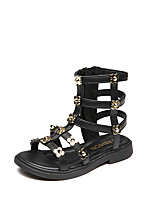 cheap -Girls' Comfort / Roman Shoes PU Sandals Novelty Shoes Little Kids(4-7ys) / Big Kids(7years +) Flower / Studded Black / Beige Summer / Fall / Party & Evening / TR