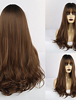cheap -Synthetic Wig Curly Matte Middle Part Neat Bang Wig Long Light Brown Synthetic Hair 26 inch Women's Adorable curling Dark Brown