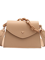 cheap -Women's Chain Polyester / PU Top Handle Bag Leather Bags Solid Color White / Khaki / Fall & Winter