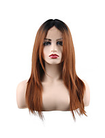 cheap -Synthetic Lace Front Wig Natural Straight Middle Part Lace Front Wig Long Synthetic Hair 28 inch Women's Women Best Quality Fashion Black / Ombre Hair