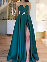 cheap -A-Line Elegant Green Engagement Formal Evening Dress Strapless Sleeveless Floor Length Satin with Sash / Ribbon Pleats Split 2020