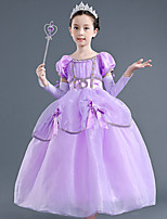 cheap -Princess Rapunzel Dress Flower Girl Dress Girls' Movie Cosplay A-Line Slip Purple Dress Children's Day Masquerade Tulle Polyester