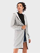 Недорогие -Жен. Повседневные Длинная Пальто, Однотонный Капюшон Длинный рукав Полиэстер Серый