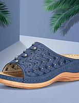 cheap -Women's Sandals / Slippers & Flip-Flops Platform Sandal Summer Platform Open Toe Daily PU Red / Light Grey / Blue