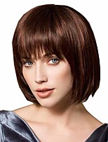 cheap -Synthetic Wig Straight Matte Middle Part Wig Short Light Brown Synthetic Hair 14 inch Women's Women Easy dressing Best Quality Brown