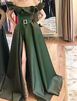 cheap -A-Line Elegant Green Party Wear Formal Evening Dress Off Shoulder Sleeveless Sweep / Brush Train Satin with Sash / Ribbon Ruffles Split 2020
