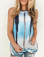 cheap -New gradient printing loose casual women's twisted sleeveless T-shirt vest