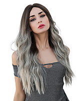 cheap -Ombre Hair Weaves / Hair Bulk Synthetic Wig Curly Water Wave Middle Part Side Part Neat Bang Wig Ombre Very Long Ombre Grey Synthetic Hair 26 inch Women's Cosplay Women Synthetic Gray Ombre HAIR CUBE