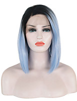 cheap -Synthetic Lace Front Wig Straight Side Part Lace Front Wig Ombre Short Ombre Color Synthetic Hair 10-16 inch Women's Soft Adjustable Party Blue Ombre