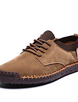 cheap -Men's Fall Daily Outdoor Sneakers Walking Shoes Pigskin Breathable Wear Proof Black / Army Green / Khaki
