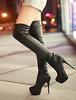 cheap -Women's Boots Fall / Winter Stiletto Heel Round Toe Daily PU White / Black / Brown