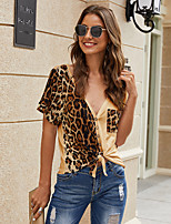cheap -Women's Leopard Loose Blouse Daily Weekend V Neck White / Black / Blushing Pink / Camel / Brown