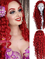 cheap -Synthetic Lace Front Wig Curly Deep Curly Free Part Lace Front Wig Long Red Synthetic Hair 18-26 inch Women's Cosplay Soft Adjustable Red