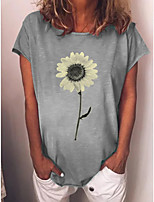 cheap -Women's T-shirt Floral Sun Flower Tops - Print Round Neck Daily Blue Yellow Gray S M L XL 2XL 3XL 4XL