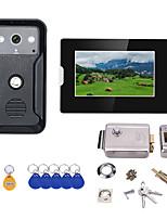 Недорогие -7-дюймовый видеодомофон дверной телефон RFID-система с HD дверной звонок 1000tvl камера с домашней нержавеющей дверью электронный дверной замок