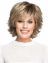 cheap -Synthetic Wig Curly Matte Layered Haircut Wig Short Light golden Synthetic Hair 6 inch Women's Fashionable Design Easy dressing Fluffy Blonde