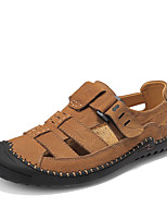 cheap -Men's Summer Casual Daily Beach Sandals Water Shoes / Upstream Shoes Cowhide Breathable Non-slipping Wear Proof Light Brown / Black