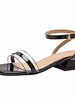 cheap -Women's Sandals Summer Chunky Heel Open Toe Daily PU White / Black / Burgundy