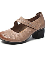 cheap -Women's Heels 2020 Summer Cuban Heel Round Toe Vintage Sweet Outdoor Home Leather / Nappa Leather Walking Shoes Black / Coffee