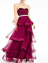 cheap -A-Line Elegant Red Party Wear Formal Evening Dress Sweetheart Neckline Sleeveless Floor Length Tulle with Sash / Ribbon Tier 2020